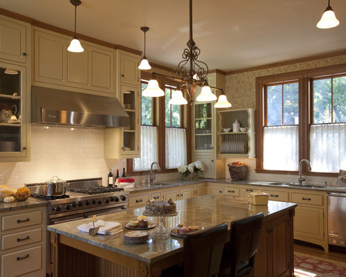 Wood trim white cabinets houzz for Cream kitchen cabinets with white trim