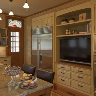 Inspiration for a traditional kitchen in Boston with beaded inset cabinets, stainless steel appliances, subway tile splashback and granite benchtops.