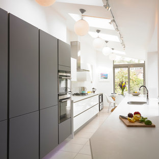 Design ideas for a small contemporary galley kitchen/diner in Other with a submerged sink, flat-panel cabinets, grey cabinets and stainless steel appliances.