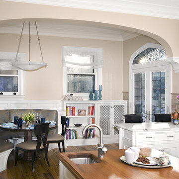 View of Kitchen Eating Area, custom banquette