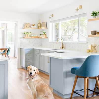 Transitional galley kitchen photo in Other