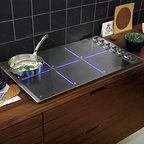 "Viking 36"" All-Induction Cooktop - Induction cooking transforms your cookware into the heat source for a cooler, efficient, and energy saving method of cooking. The Power Management induction system speeds boil times for those favorite dishes as well as providing a quick simmer for sauces. Viking Induction cooktops are compatible with all Viking cookware as well as most other high-end brands of stainless steel and enamel cookware."