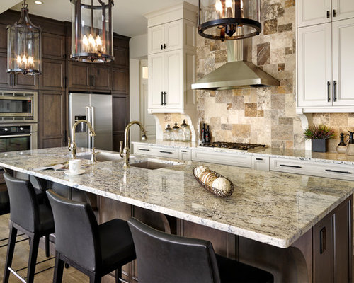 10,841 Kitchen Design Photos with Beige Backsplash, White Cabinets and ...