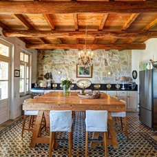 Mediterranean Kitchen by Corfu Villa Construction