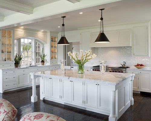 Traditional Open Concept Kitchen Designs   Traditional L Shaped Dark Wood  Floor Open Concept Kitchen