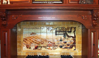 Vineyard Kitchen backsplash  mural by Linda Paul