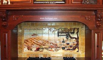 Vineyard Kitchen backsplash  mural by Linda Paul