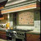 Fox And Chicken Backsplash Traditional Kitchen