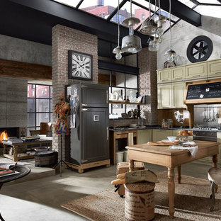Design ideas for a large industrial l-shaped open plan kitchen in Other with raised-panel cabinets, green cabinets, marble benchtops, multi-coloured splashback and ceramic floors.