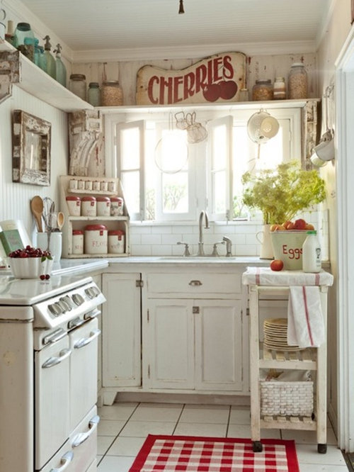 Shabby chic style kitchen design ideas remodel pictures for Kitchen remodel ideas houzz