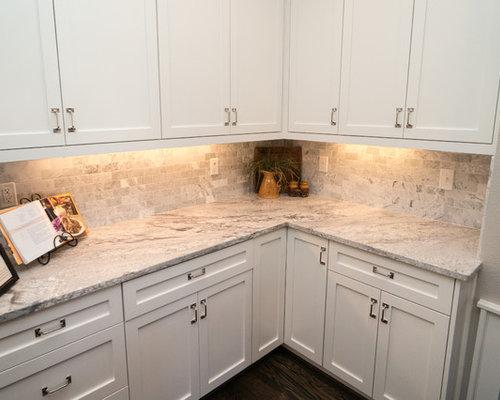 Blue paint for kitchen cabinets kitchen - Glacier White Granite Houzz