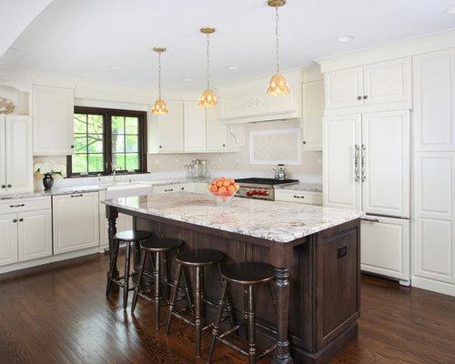 White Kitchen Dark Island dark island white cabinets | houzz