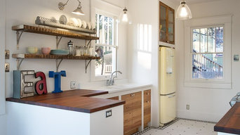 Vintage Kitchen with Sipo Mahogany Countertops by DeVos Woodworking