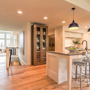 Geschlossene, Zweizeilige, Mittelgroße Nordische Küche mit Einbauwaschbecken, weißen Schränken, Granit-Arbeitsplatte, Küchengeräten aus Edelstahl, hellem Holzboden, Kücheninsel und braunem Boden in Minneapolis