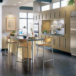 マイアミの大きいコンテンポラリースタイルのおしゃれなキッチン (フラットパネル扉のキャビネット、黄色いキャビネット、シルバーの調理設備の、クッションフロア、アンダーカウンターシンク、コンクリートカウンター、メタリックのキッチンパネル、メタルタイルのキッチンパネル) の写真