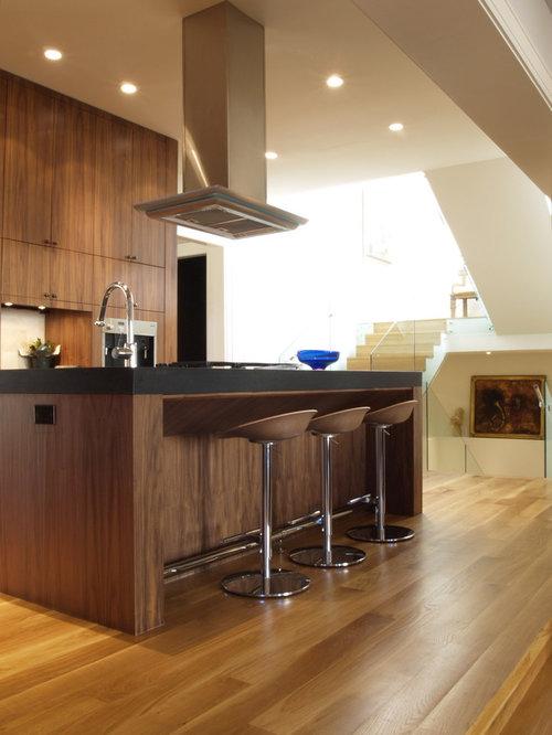 White Oak Floor Walnut Cabinets Home Design Ideas