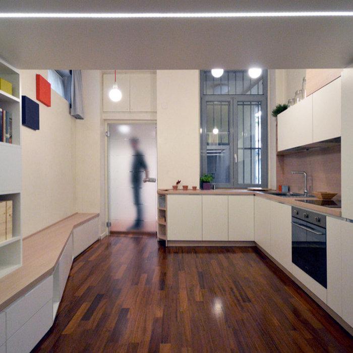 Monolocale dalla cucina al letto in 18 mq