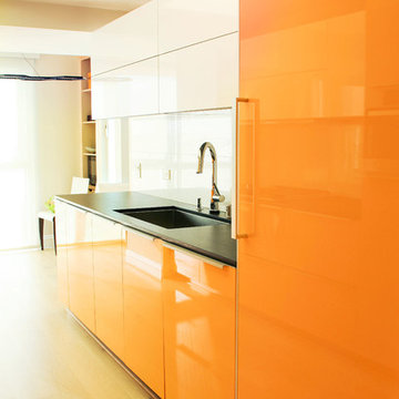 Vivid Orange High Glossy Kitchen in Marina del Rey