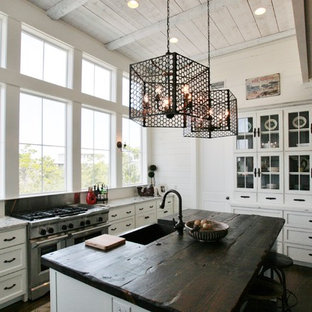 Coastal kitchen inspiration - Beach style l-shaped dark wood floor kitchen photo in Miami with a farmhouse sink, recessed-panel cabinets, white cabinets, stainless steel appliances, wood countertops and an island