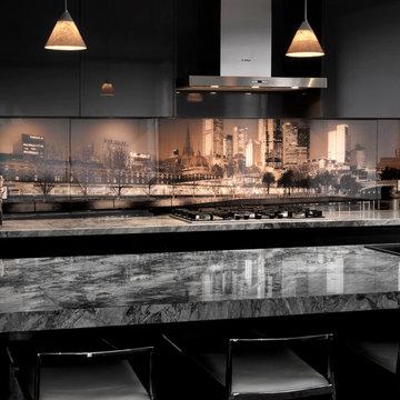 VR Art Glass Kitchen Splashback - Melbourne Skyline