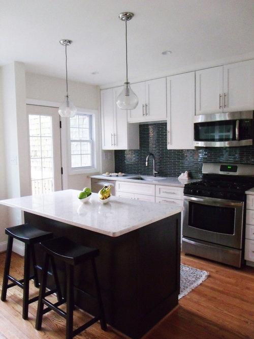 Delightful Contemporary Kitchen Idea In Atlanta With Glass Tile Backsplash, An  Undermount Sink, Recessed