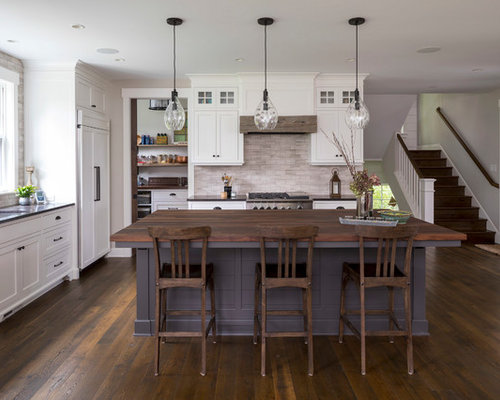 Beach Style Kitchen Liance Coastal Dark Wood Floor And Brown Photo In Minneapolis