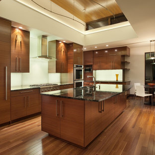 Modern kitchen pictures - Inspiration for a modern kitchen remodel in Denver with paneled appliances