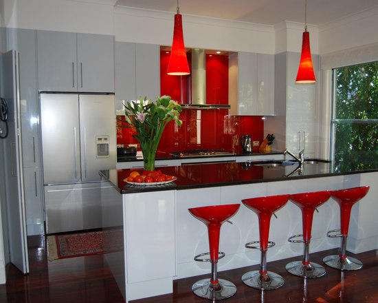 red kitchen backsplash | houzz