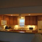 Santa Cecilia Granite For White Kitchen Cabinets Traditional Charlotte Fireplace