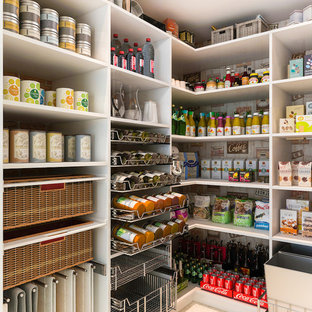 Mid-sized modern kitchen pantry pictures - Inspiration for a mid-sized modern l-shaped kitchen pantry remodel in Los Angeles with flat-panel cabinets and white cabinets