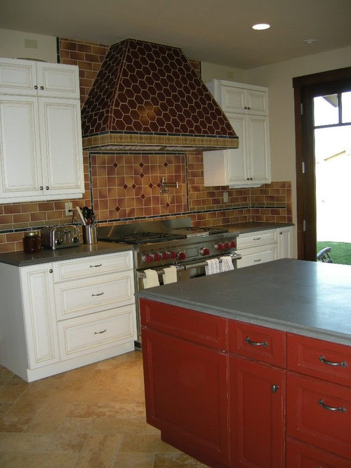 Southwestern Red Kitchen Design Ideas Remodel Pictures Houzz