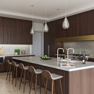 Expansive contemporary l-shaped kitchen/diner in Los Angeles with a double-bowl sink, flat-panel cabinets, dark wood cabinets, terrazzo worktops, grey splashback, stone slab splashback, integrated appliances, travertine flooring, an island, multi-coloured floors and multicoloured worktops.