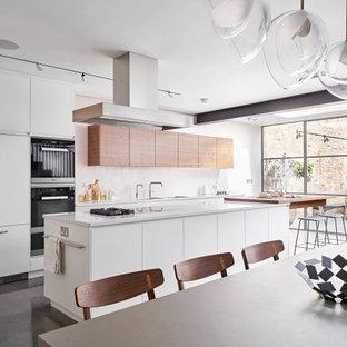 Walnut & White Contemporary Kitchen, Richmond