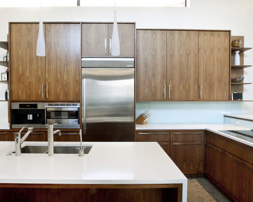 Modern Kitchen Idea In Denver With Stainless Steel Appliances Flat Panel Cabinets Dark