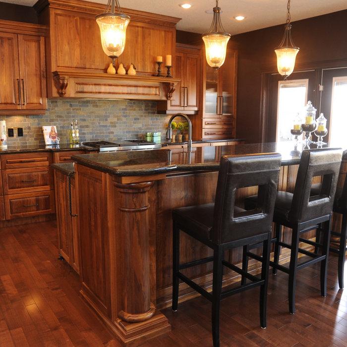 Walnut Kitchen With Columns