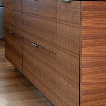 Walnut Horizontal Wood Grain Island Cabinets Bookmatched