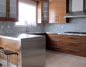 Walnut Kitchen with Stainless Steel Countertop