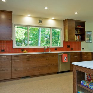 Walnut Midcentury KItchen with Orange Accents