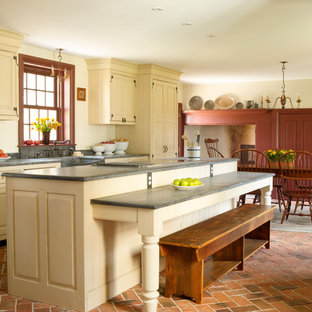 Eat In Kitchen   Mid Sized Farmhouse Single Wall Brick Floor And Red