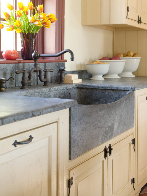 Example Of A Mid Sized Country Kitchen Design In Philadelphia With A Farmhouse  Sink,