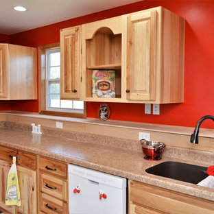 This is an example of a mid-sized arts and crafts u-shaped open plan kitchen in Chicago with an undermount sink, raised-panel cabinets, light wood cabinets, laminate benchtops, ceramic floors, no island, multi-coloured floor and beige benchtop.