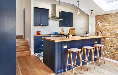 Kitchen Tour: A Dark Blue City Kitchen With a Farmhouse Feel