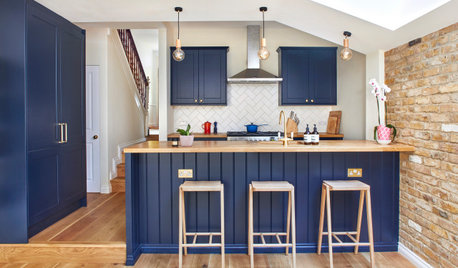 Blue, Wood and Brick Bring Charm to a London Kitchen