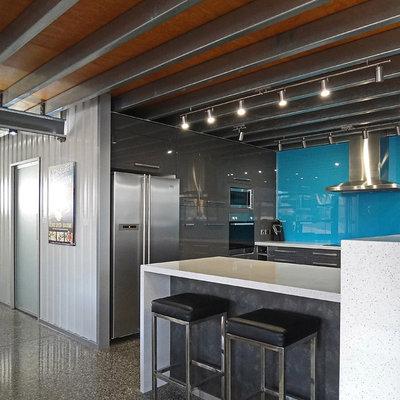Kitchen - industrial u-shaped kitchen idea in Adelaide