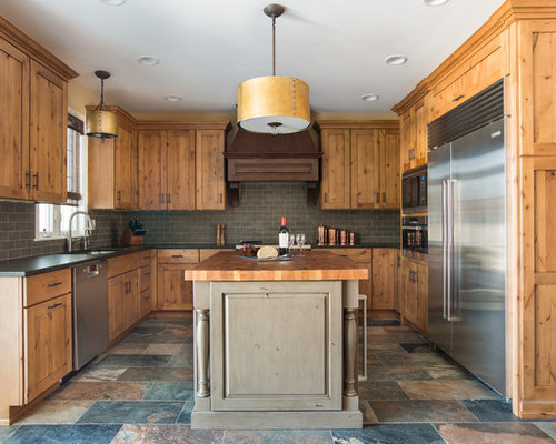 Houzz   Natural Knotty Alder Cabinets Design Ideas & Remodel Pictures