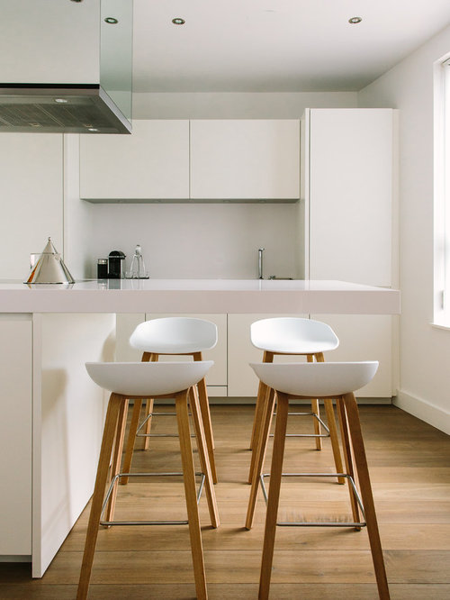 Contemporary medium tone wood floor kitchen idea in Manchester with flat-panel cabinets white & Kitchen Stool | Houzz islam-shia.org