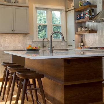 Warm Grey And Walnut Contemporary Kitchen