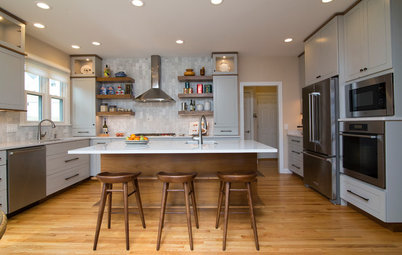 Marvelous Kitchen Makeovers Warm Walnut and Soothing Gray Balance a North Carolina Kitchen