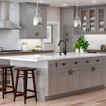 Warm Grey Cabinets in Classic Shaker Cabinets.