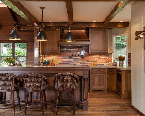 Ideas para cocinas fotos de cocinas con salpicadero de pizarra y suelo de madera oscura - Encimera de pizarra ...